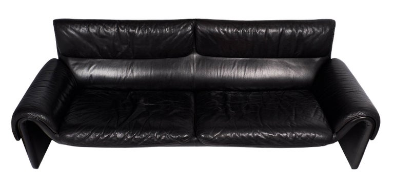 Black Leather Vintage de Sede Sofa For Sale 2