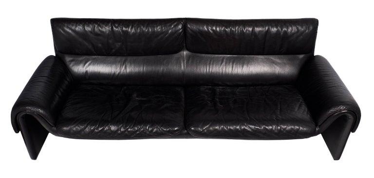 Black Leather Vintage de Sede Sofa 8