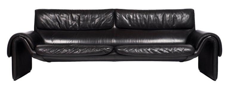 Black Leather Vintage de Sede Sofa 6