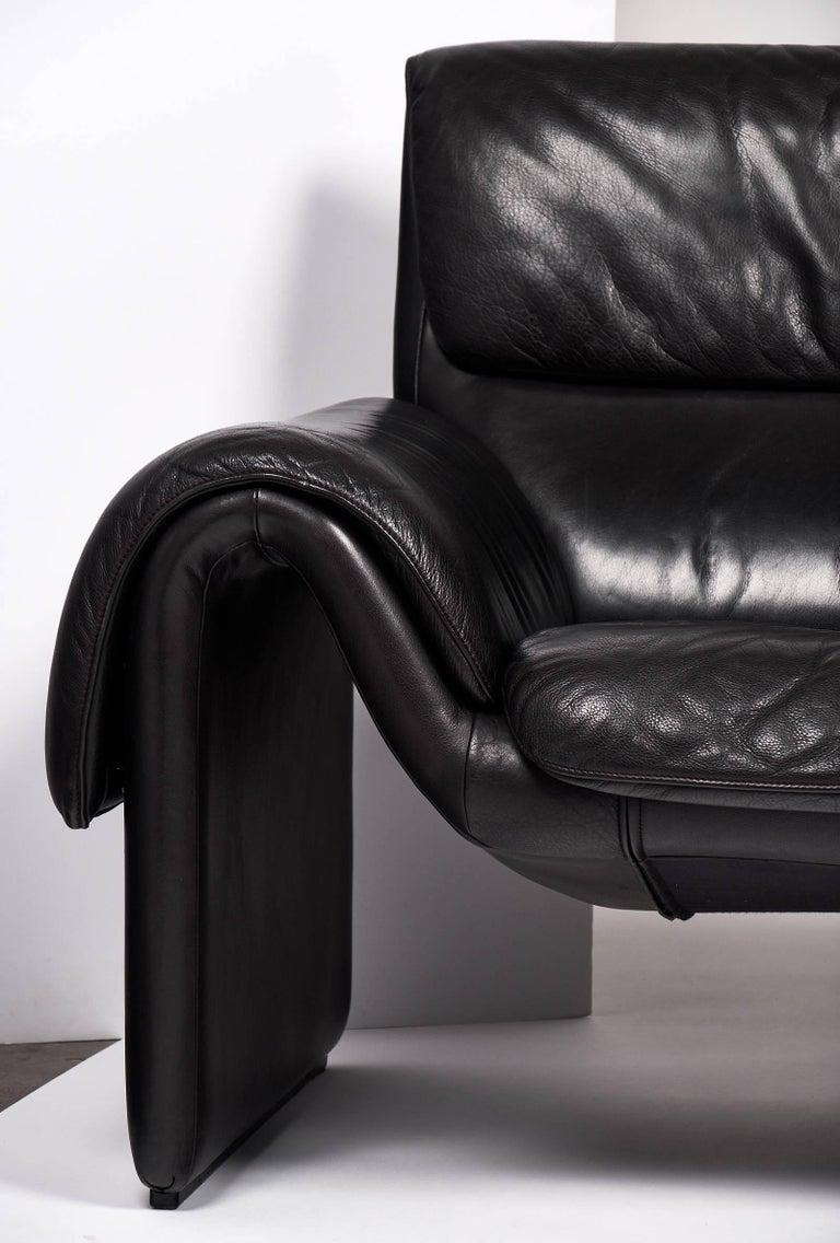 Black Leather Vintage de Sede Sofa For Sale 1