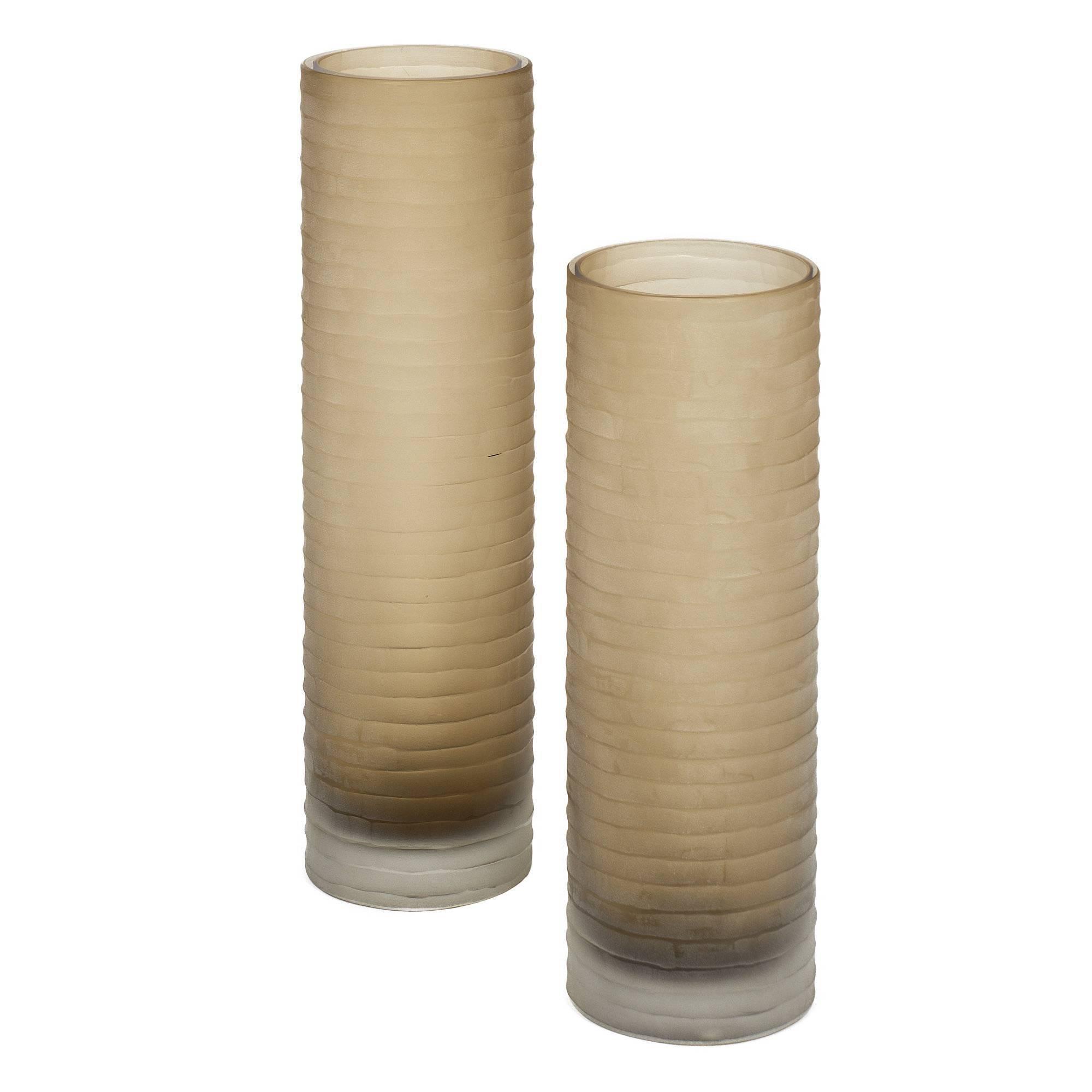 'Battuto' Smoked Murano Glass Vases