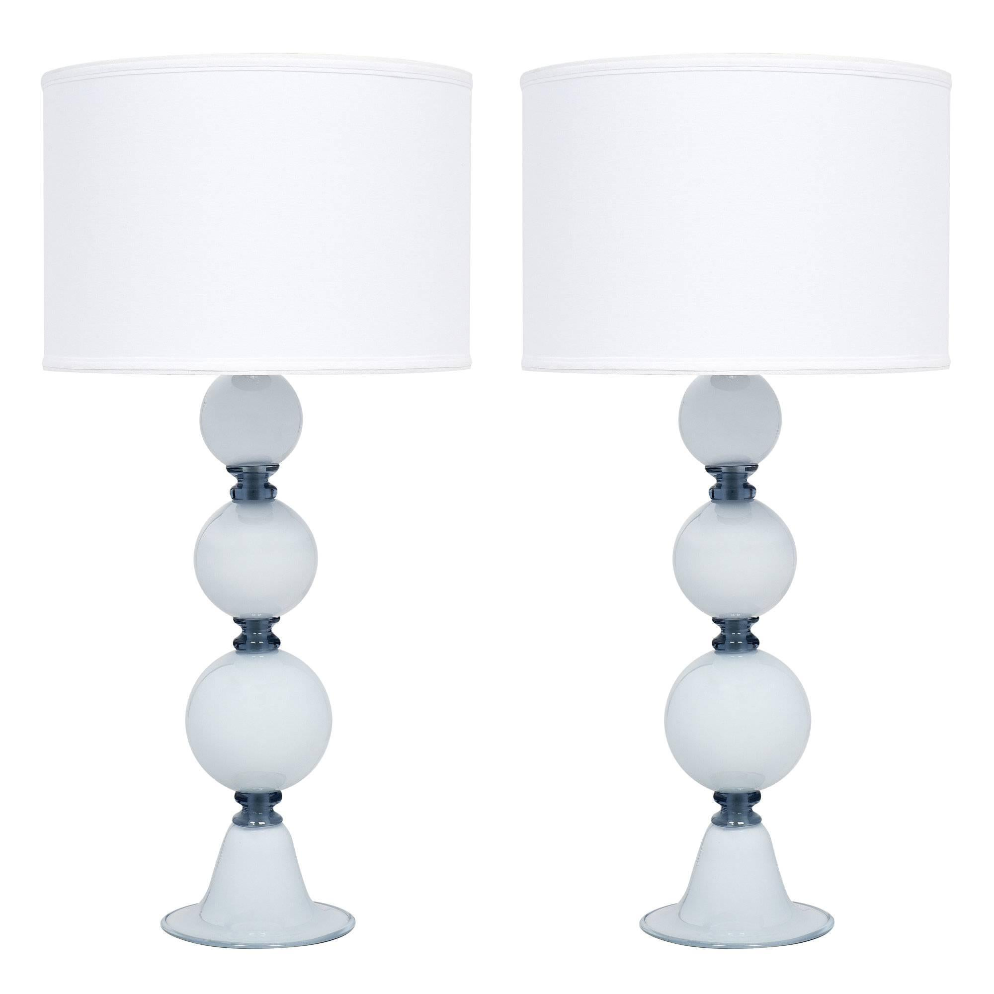 Spherical Blue Murano Glass Table Lamps