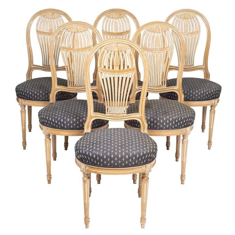 Céruse Louis XVI Style Dining Chairs For Sale