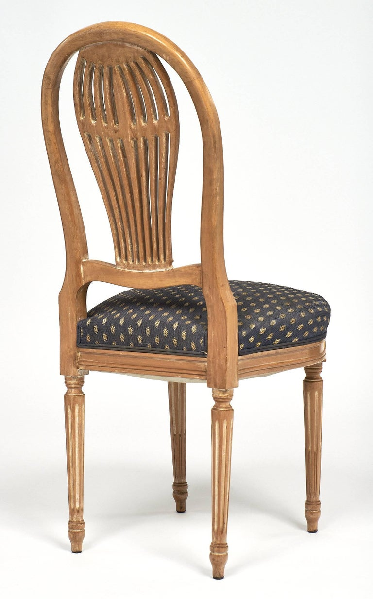 Beech Céruse Louis XVI Style Dining Chairs For Sale