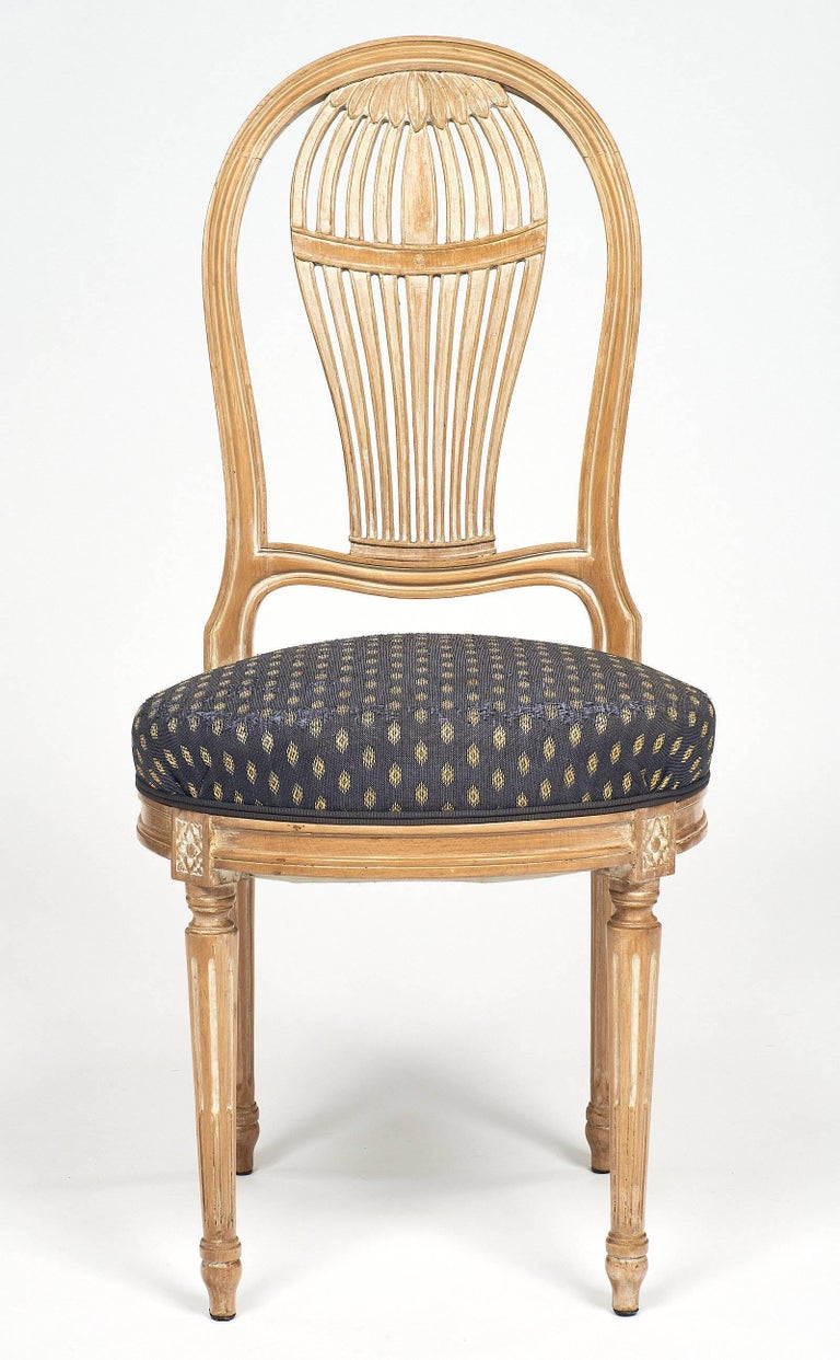 French Céruse Louis XVI Style Dining Chairs For Sale