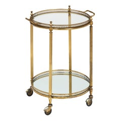 Circular Art Deco French Bar Cart with Tray