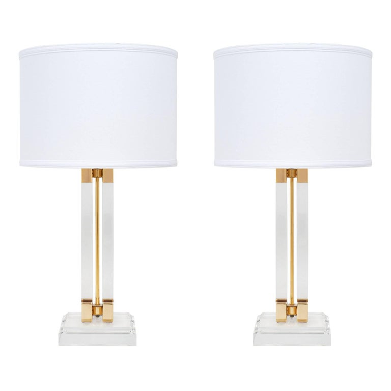 Lucite and Brass Midcentury Table Lamps