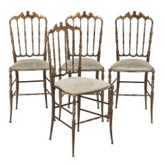 Four Vintage Brass Chiavari Chairs
