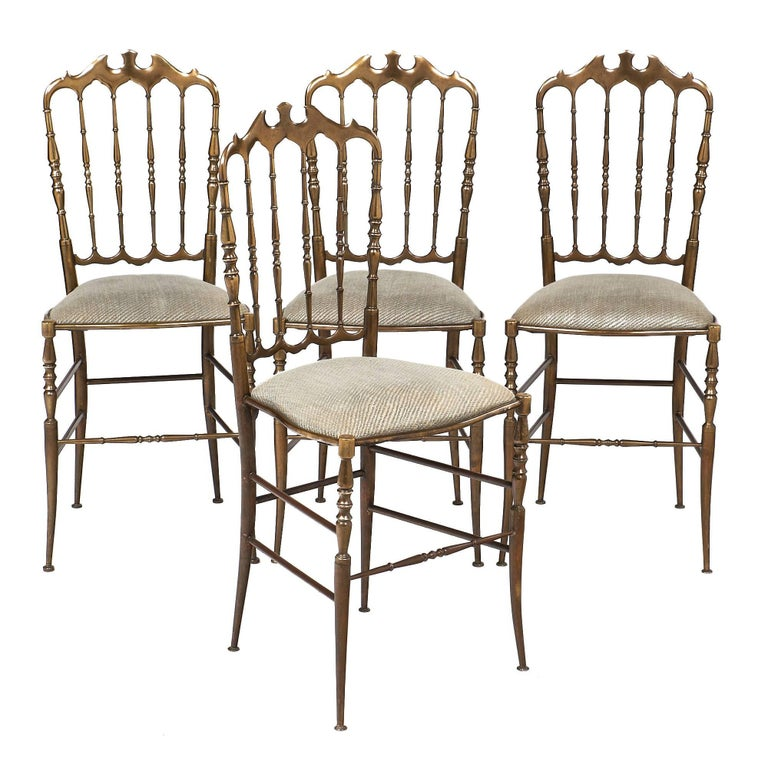 Four Vintage Brass Chiavari Chairs