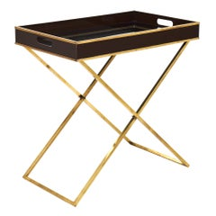 Modern Brass and Lucite Tray Table