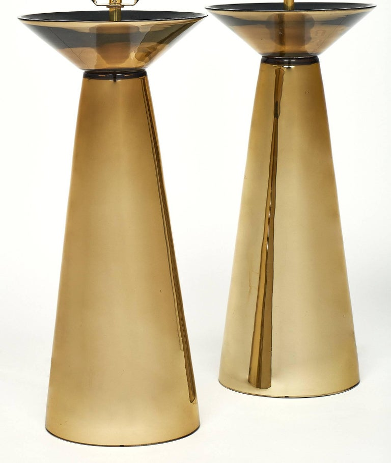 Italian Gold Murano Glass Table Lamps For Sale