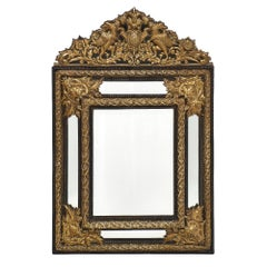 Embossed Brass Napoleon III Period Mirror