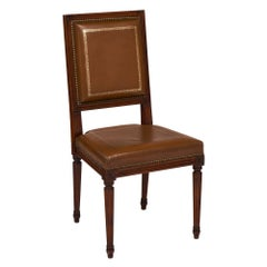 Louis XVI Style French Leather Side Chair