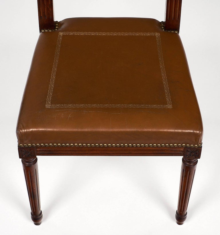 Br Louis Xvi Style French Leather Side Chair For