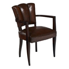Scallop-Back Leather Art Deco Bridge Chair