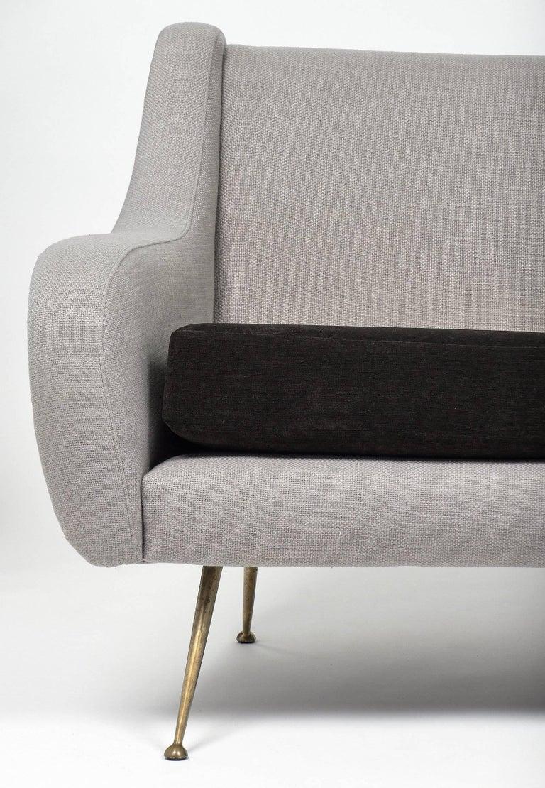 Velvet Zanuso Style Italian Settee For Sale