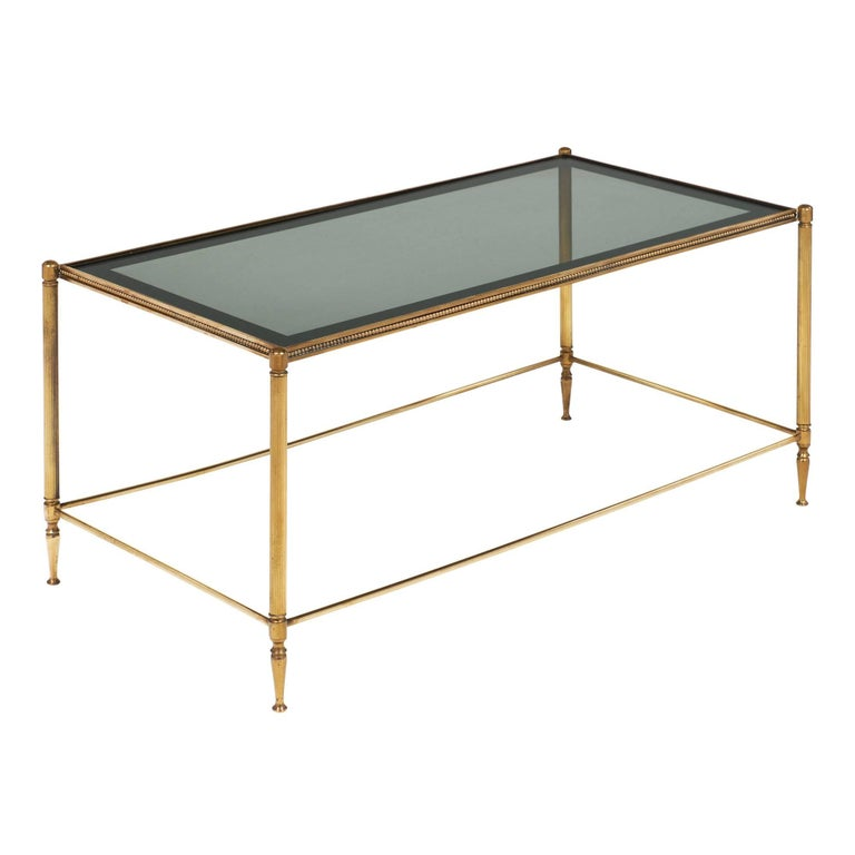 Smoked Glass and Brass Coffee Table