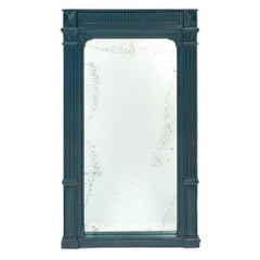 Antique Teal French Painted Pier Mirror