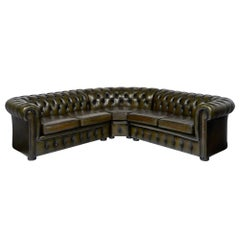 Leather Green Chesterfield Sectional