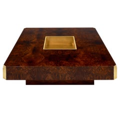 Burled Walnut and Brass Coffee Table by Willy Rizzo