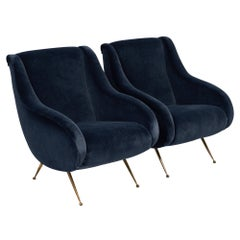 Midcentury Navy Blue Italian Armchairs