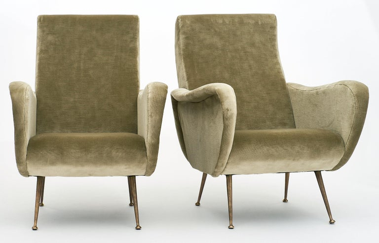 Mid-Century Modern Marco Zanuso Style Italian Lady's Armchairs For Sale