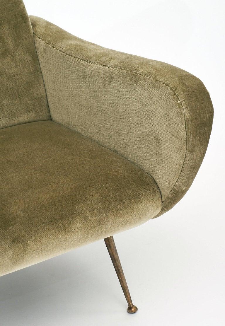 Velvet Marco Zanuso Style Italian Lady's Armchairs For Sale