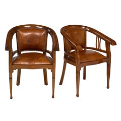 Art Deco Period Austrian Leather Armchairs