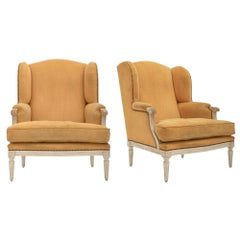 Louis XVI Style Pair of Yellow Bergères