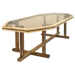 Brass and Smoked Glass Dining Table by Romeo Rega
