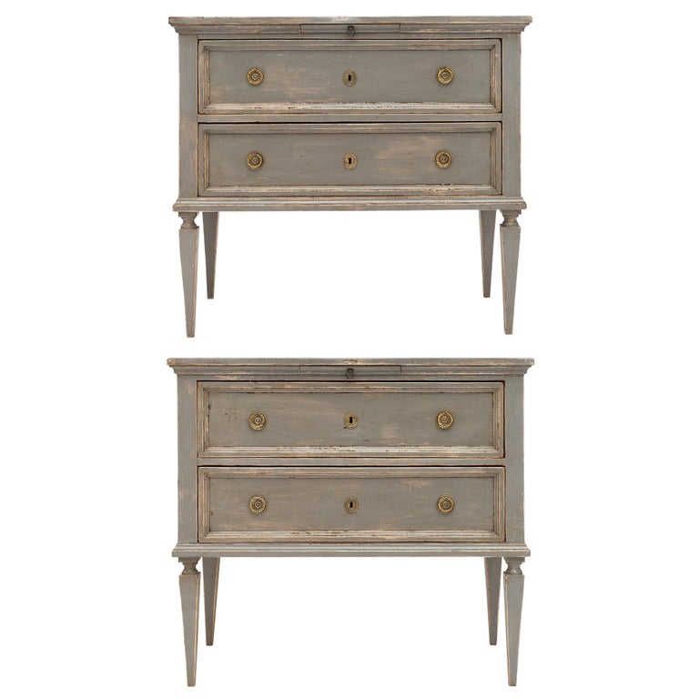 Louis XVI Style Pair of Tuscan Chests