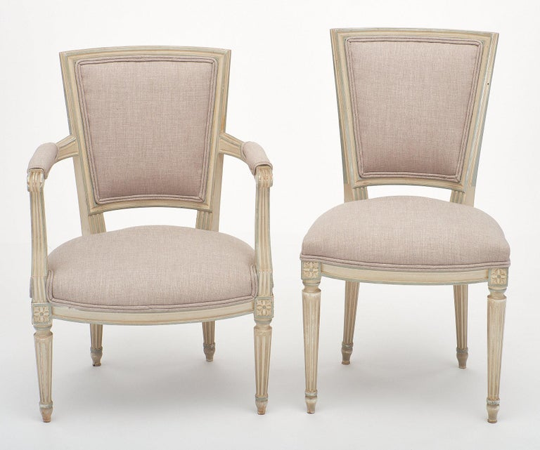French Louis XVI Style Set of Chairs with Armchairs For Sale