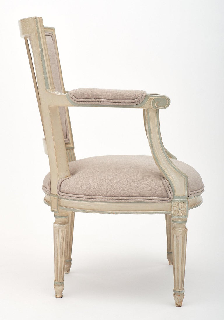 Linen Louis XVI Style Set of Chairs with Armchairs For Sale