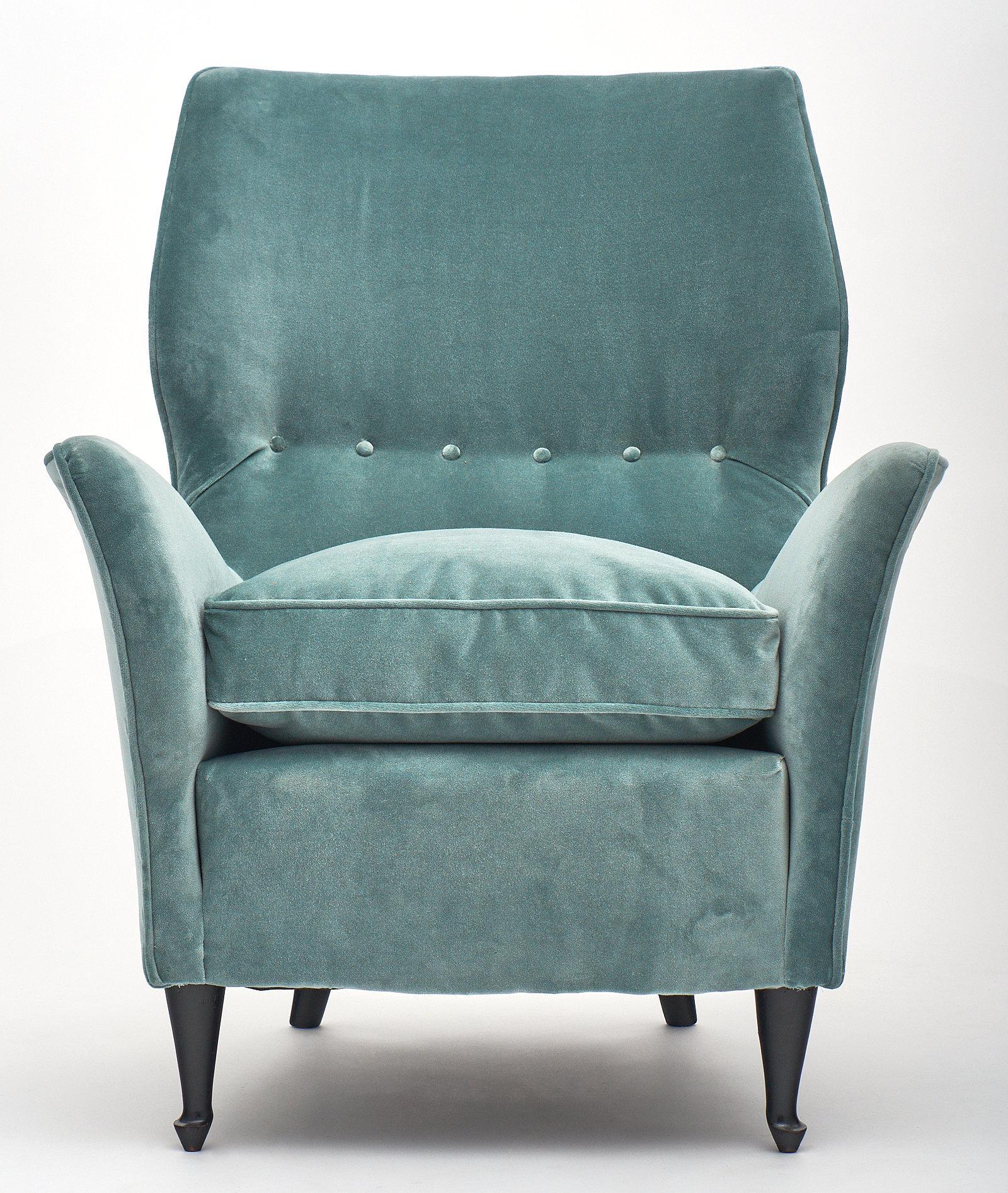 Mid Century Modern Velvet Carlo Di Carli Style Vintage Armchairs For Sale