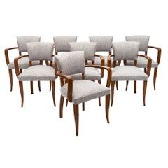 Eight Art Deco French Bridge Chairs