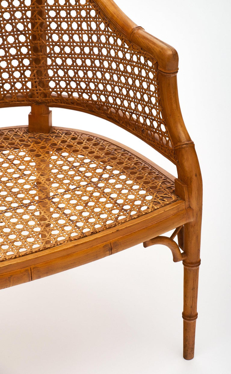Bamboo and Cane Vintage French Armchairs In Good Condition For Sale In Austin, TX