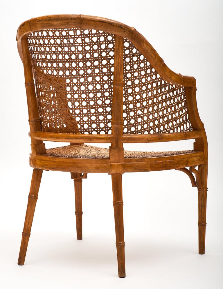 Bamboo and Cane Vintage French Armchairs For Sale 2