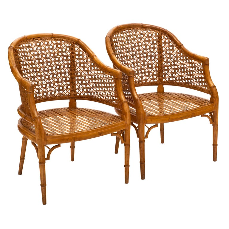 Bamboo and Cane Vintage French Armchairs For Sale