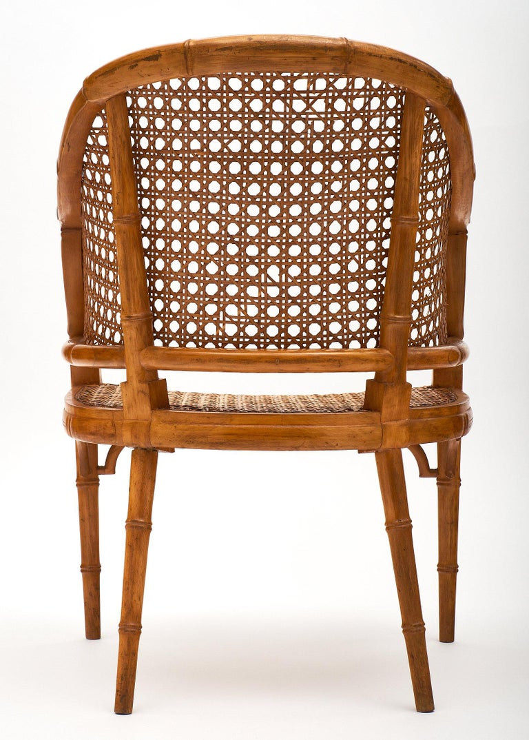 Bamboo and Cane Vintage French Armchairs For Sale 3