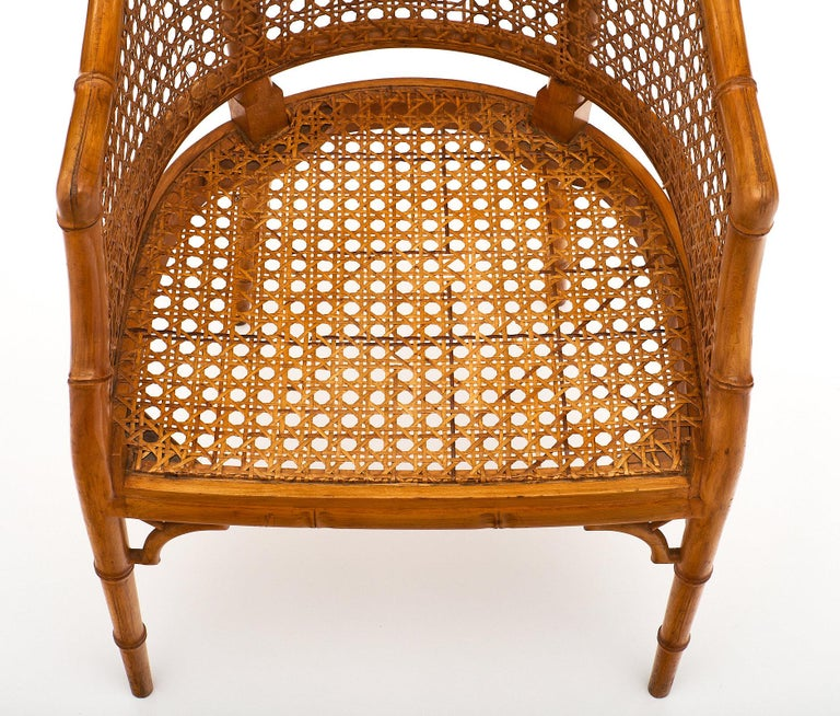 Mid-20th Century Bamboo and Cane Vintage French Armchairs For Sale