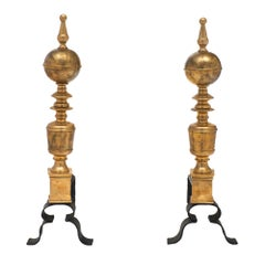 Brass Vintage French Andirons