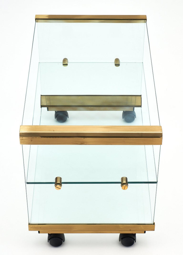 Glass and Brass Modernist Side Table For Sale 1
