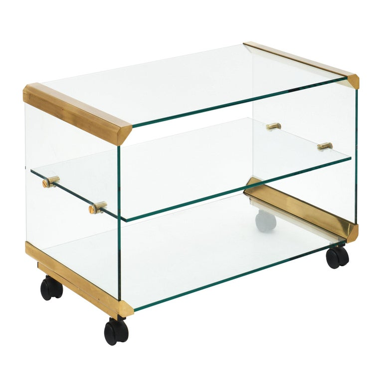 Glass and Brass Modernist Side Table For Sale