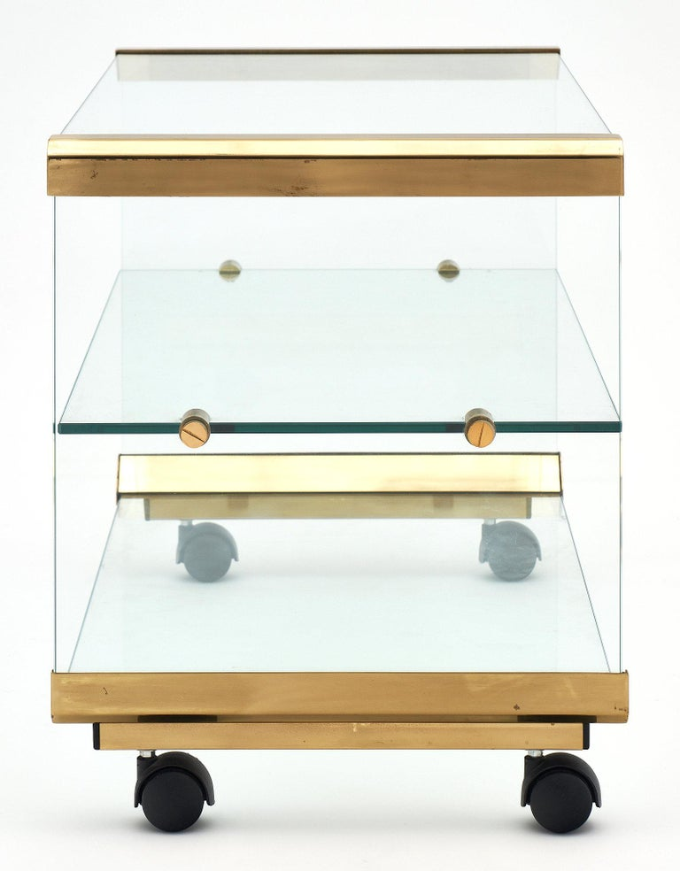 Late 20th Century Glass and Brass Modernist Side Table For Sale