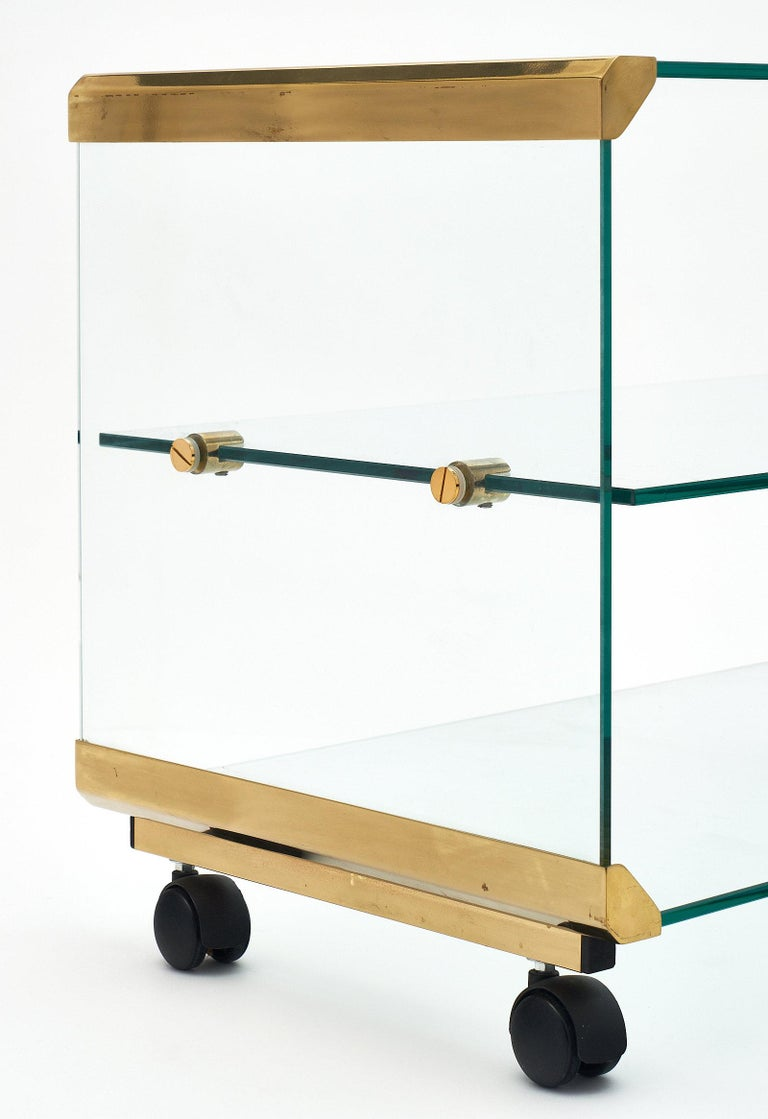 French Glass and Brass Modernist Side Table For Sale