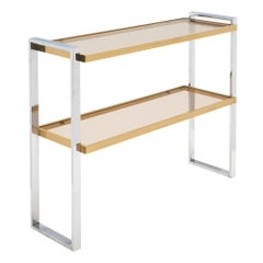 Chrome and Brass Italian Console Table