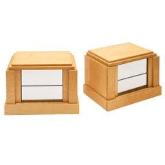 Burled Wood Modernist Side Tables