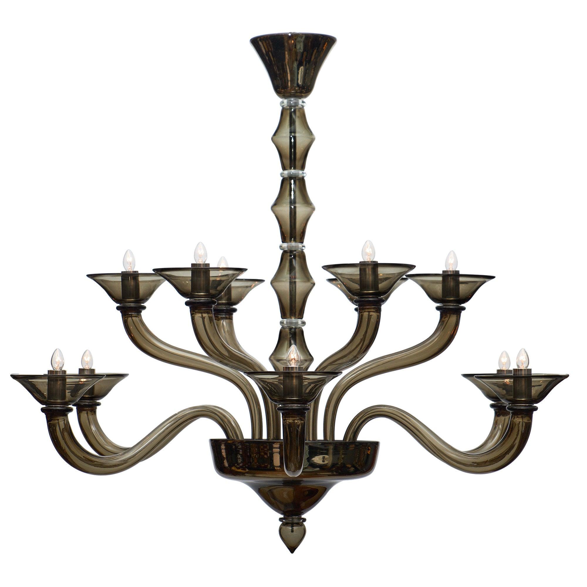 Murano gray mercury glass chandelier