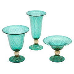 Green and Gold Set of Three Murano Glass Vases