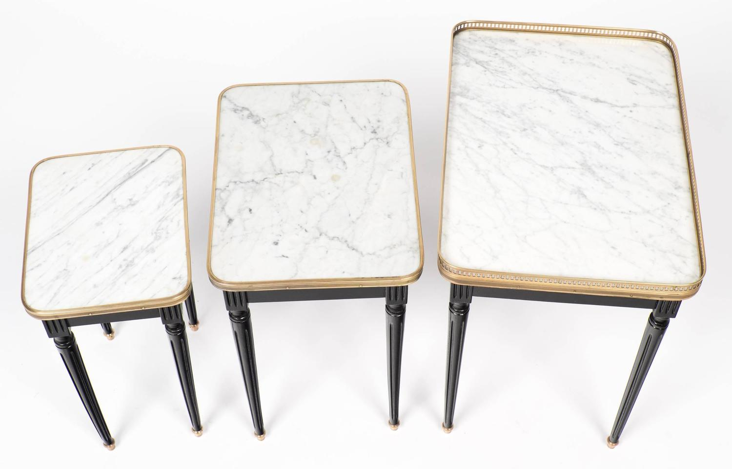 Antique Set Of Louis XVI Style Nesting Tables At 1stdibs. Full resolution  portraiture, nominally Width 1500 Height 960 pixels, portraiture with #8E6C3D.